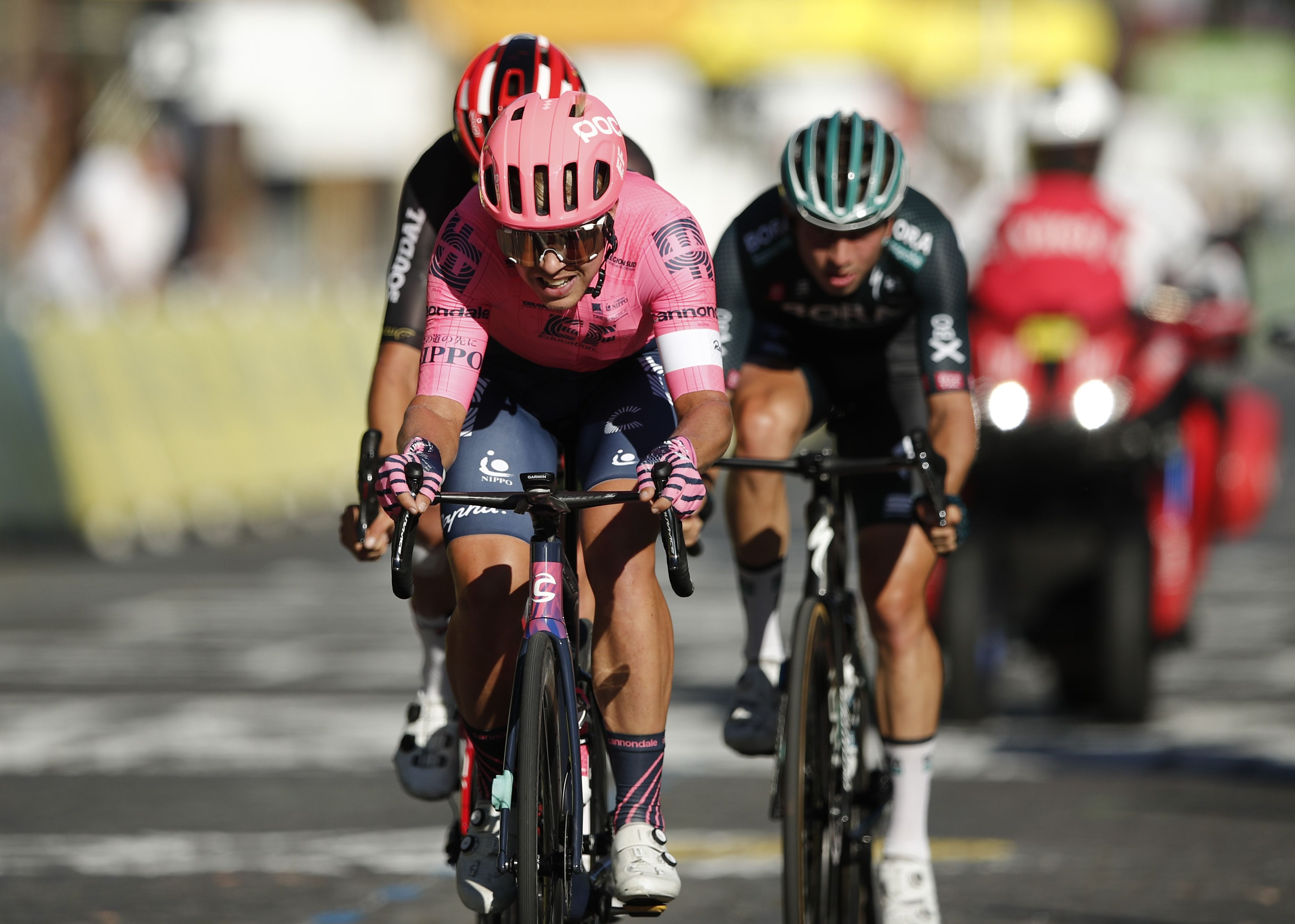 Cycling - Tour de France - Stage 21 - Chatou to Paris Champs-Elysees - France - July 18, 2021 EF Education–Nippo rider Sergio Higuita of Colombia in action during stage 21 REUTERS/Benoit Tessier